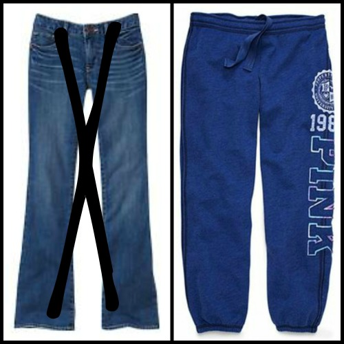 jeans or sweatpants